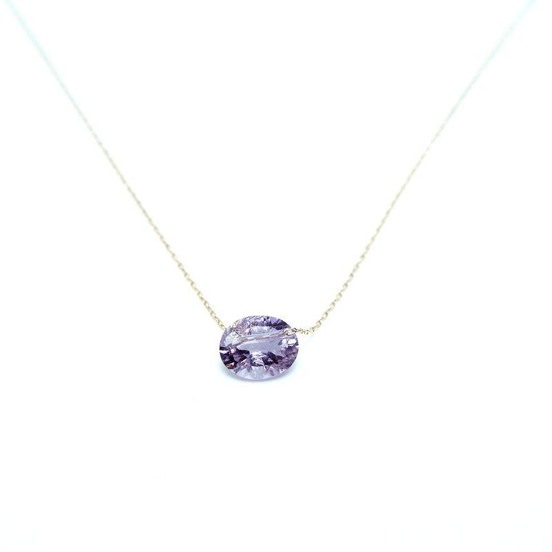 Holey stone Conecave Necklace Amethyst - K18YG