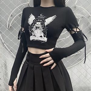 レディース トップス ゴシック 長袖 Tシャツ ダンスウェア  黒 セクシー ゴスロリ パンク ロック 9013