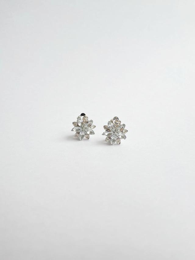 VINTAGE FLOWER clear bijou earrings