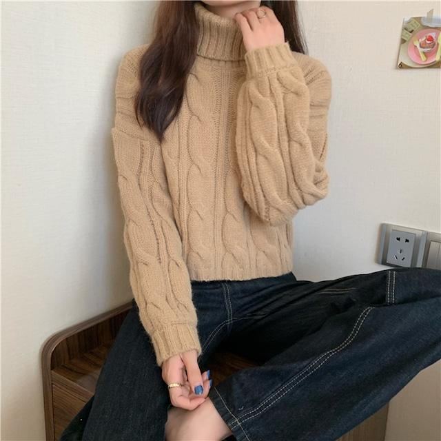 〈カフェシリーズ〉カフェモカハイネックニットセーター