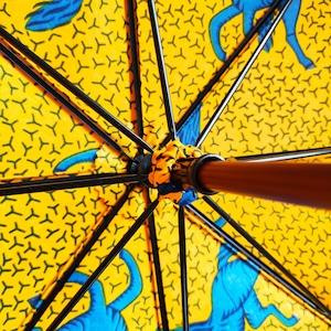 アフリカンファブリック(緑地の馬柄) 職人日傘・アフリカンプリント オーダー