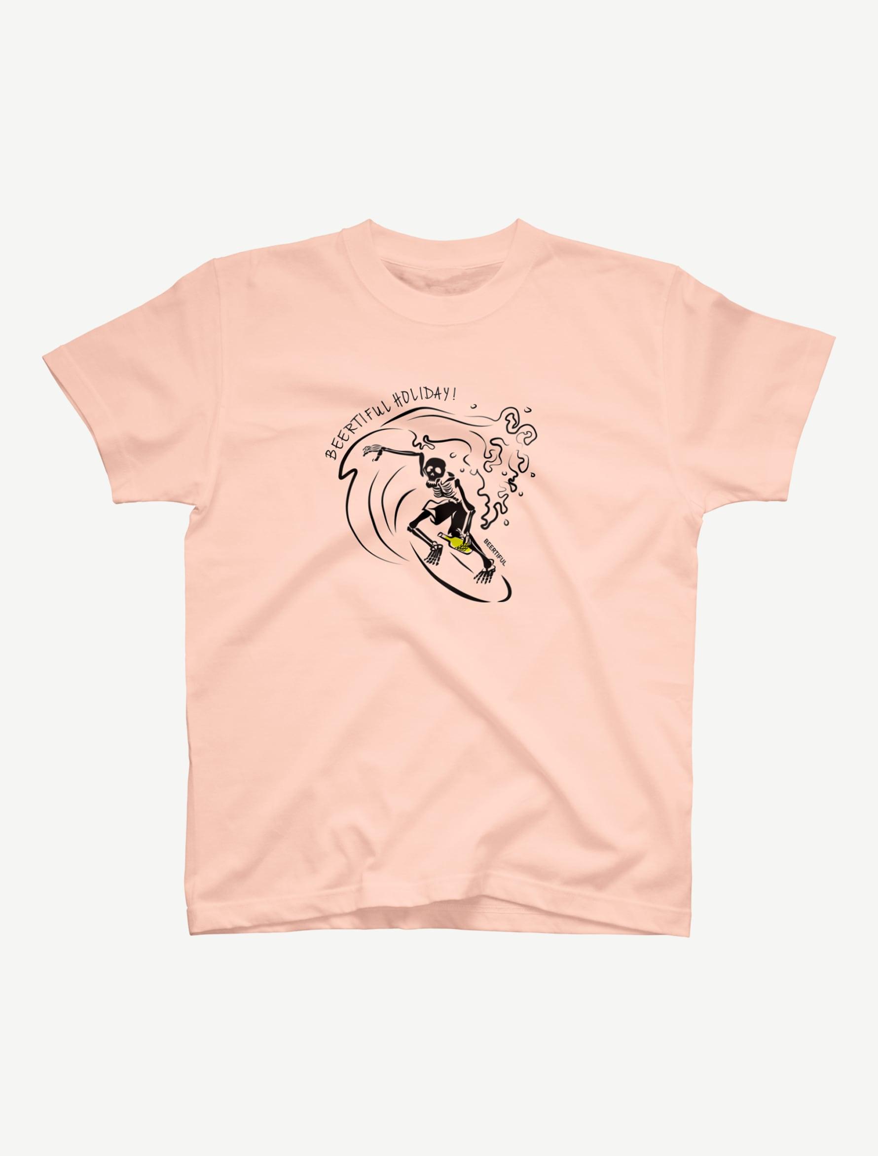 【サーフィンガイコツ】Tシャツ(アプリコット)