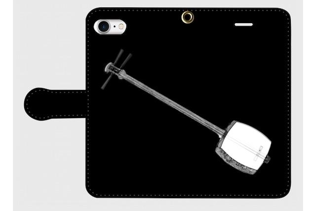 (iPhone用)三味線の手帳型スマホケース(黒)