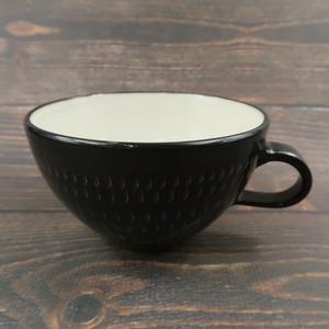 小石原焼 手付きスープカップ 黒 トビ 鶴見窯