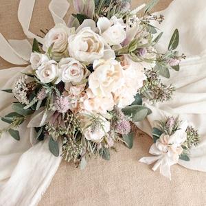 Rose Pastel Bouquet&Boutonniere