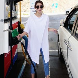 t0055012 トップス Tシャツ アシンメトリー ロング丈 T 半袖 ホワイト S-XL オーバーサイズ 夏コーデ