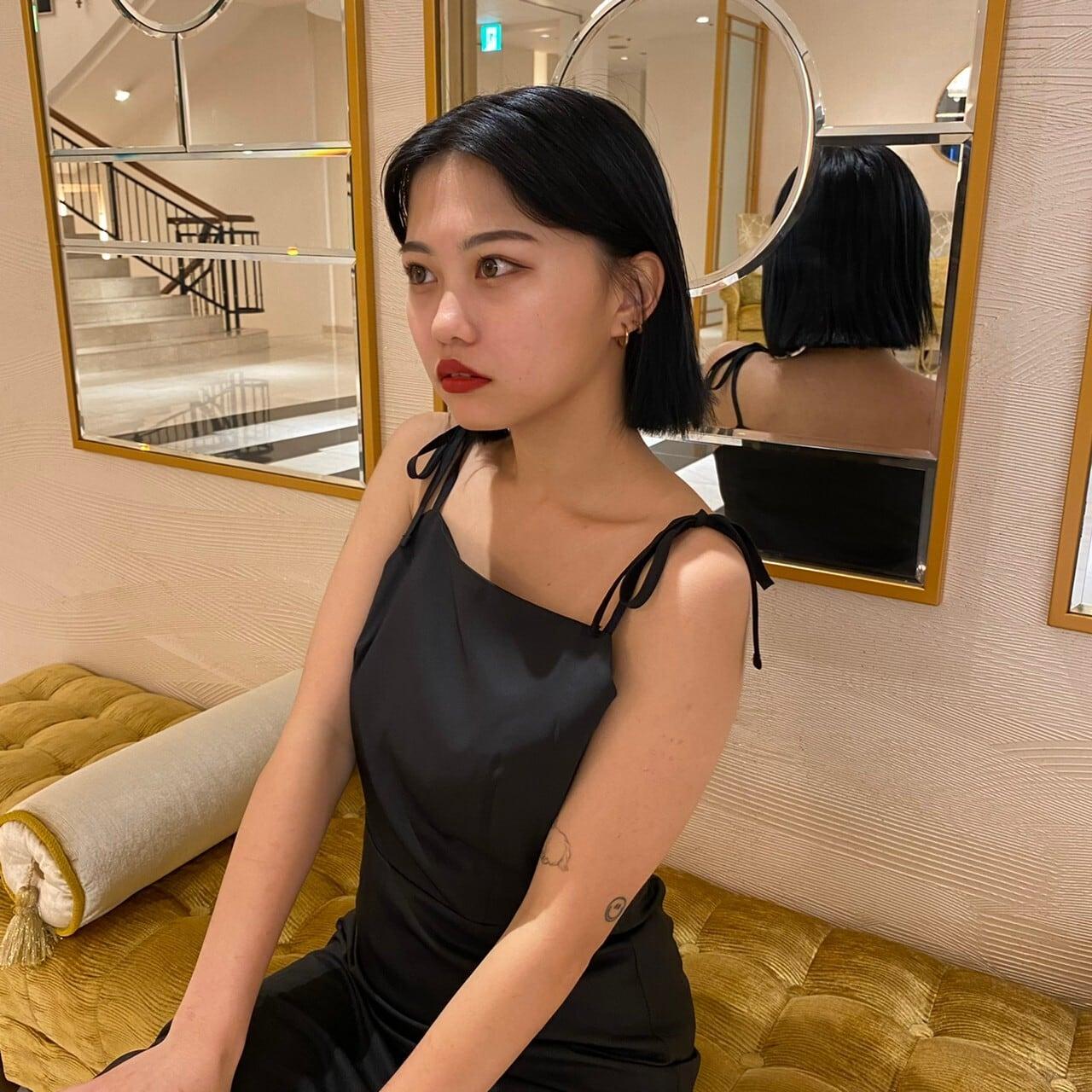 【Belle】shoulder ribbon slit onepiece / black