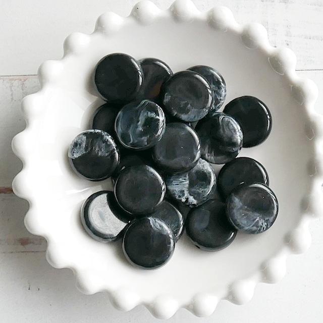 【462b-p2】4pcs  ストーン調 コイン アクリルビーズ ブラック15×4.5mm