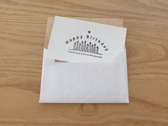 【活版印刷】小さなカードと封筒(Happy Birthday.candles)