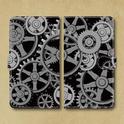 歯車スチームパンク(黒)/Androidスマホケース(手帳型ケース)