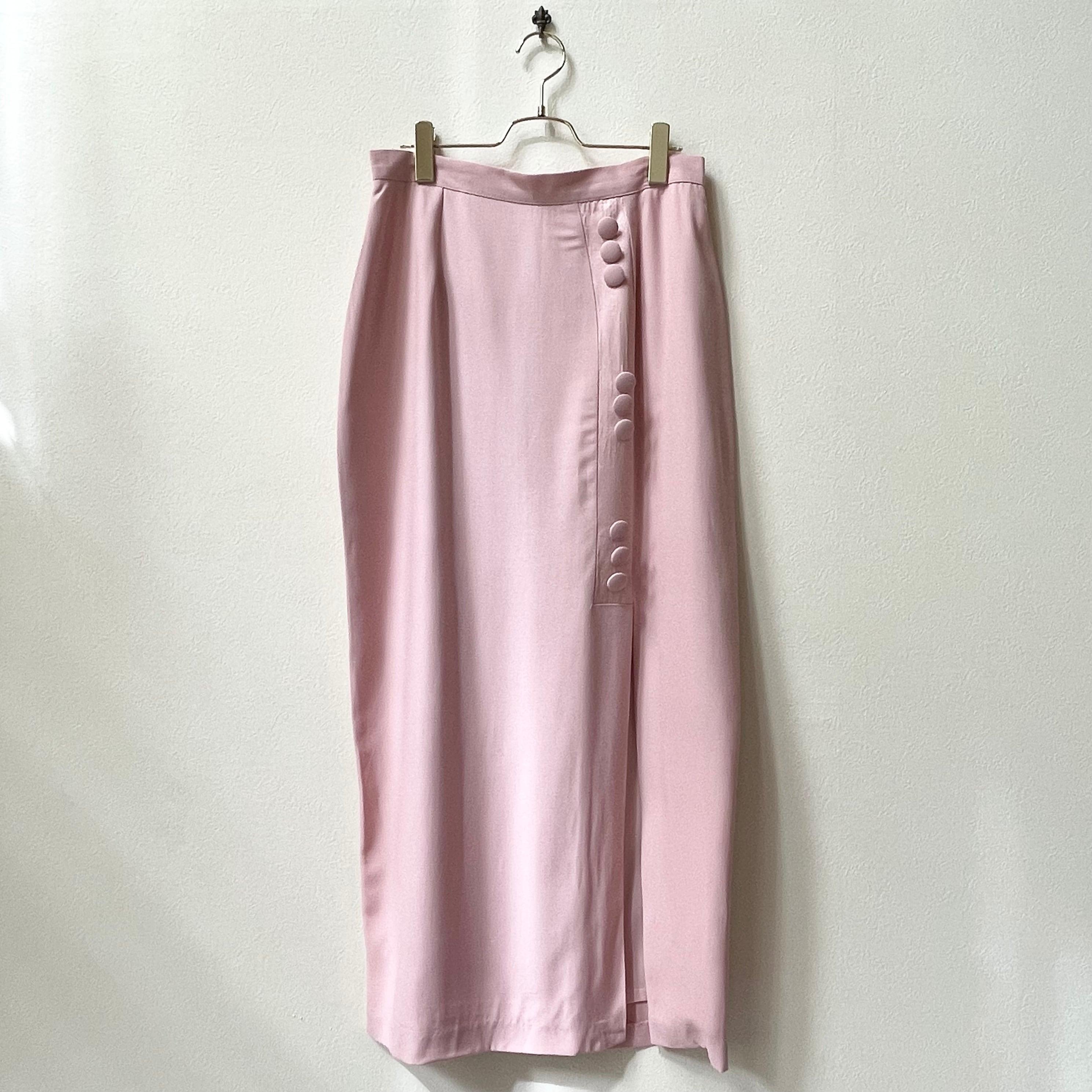 90年代 USA製 サイドボタン ロングタイトスカート 古着 日本LL