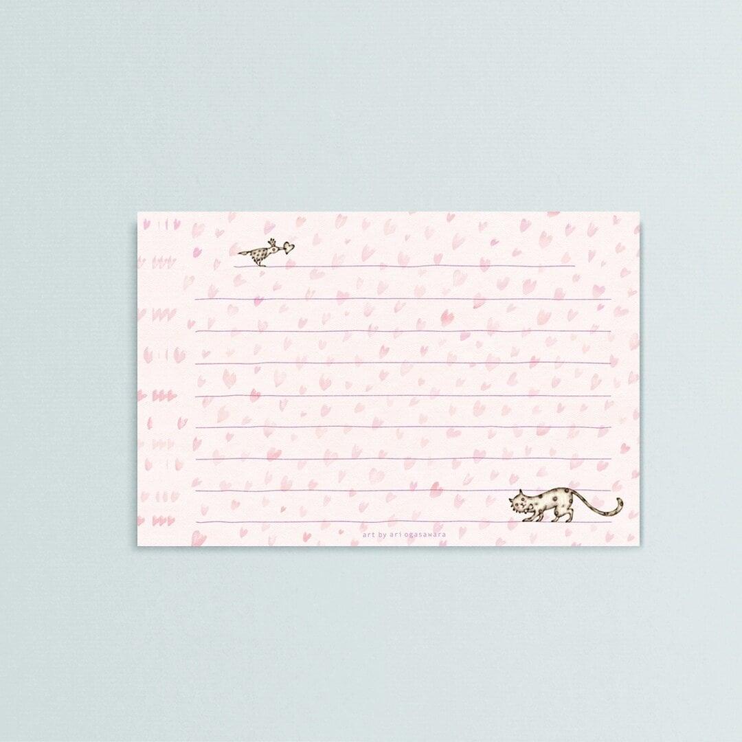 一筆箋【 heart field 】bird x cat  メッセージカード
