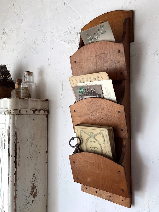 木製 3段 壁付レターラック