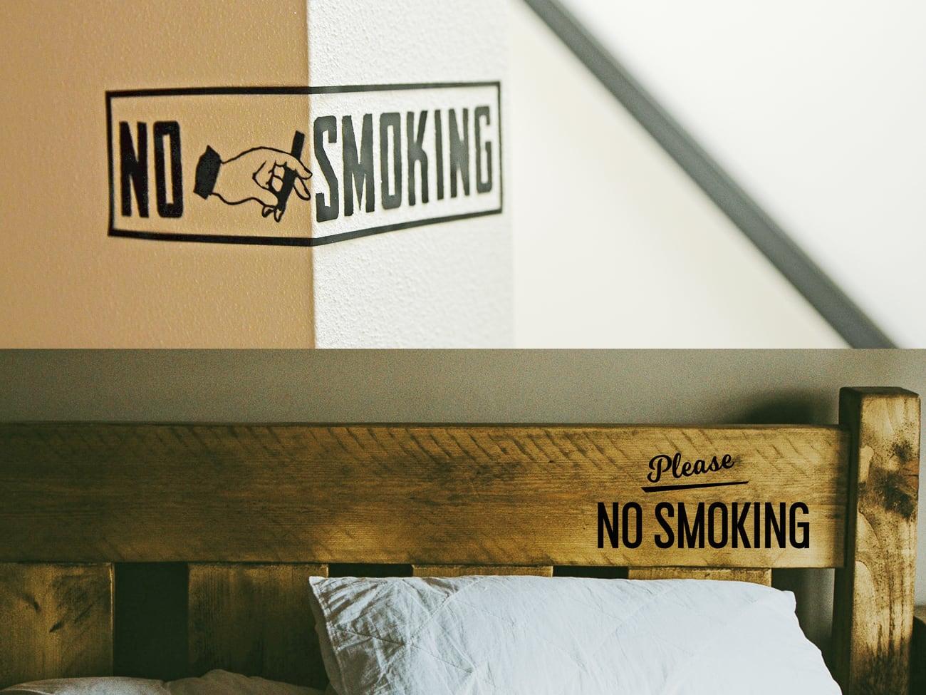 NO SMOKING 禁煙サインウォールステッカーセット