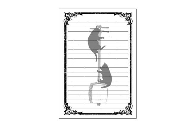 三味線と黒猫のレターセット