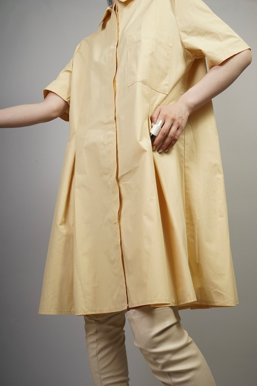 TUCK PLEATED SHIRT ONE PIECE  (YELLOW BEIGE) 2106-32-4