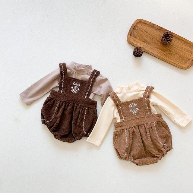 【お取り寄せ】66-100 刺繍コーデュロイロンパース 赤ちゃん ベビー キッズ 秋冬