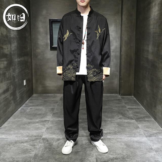 【如旧シリーズ】★セットアップ★ジャケット+ズボン メンズ 鶴 改良唐装 刺繍 皺付きにくい 大きいサイズ 黒 赤