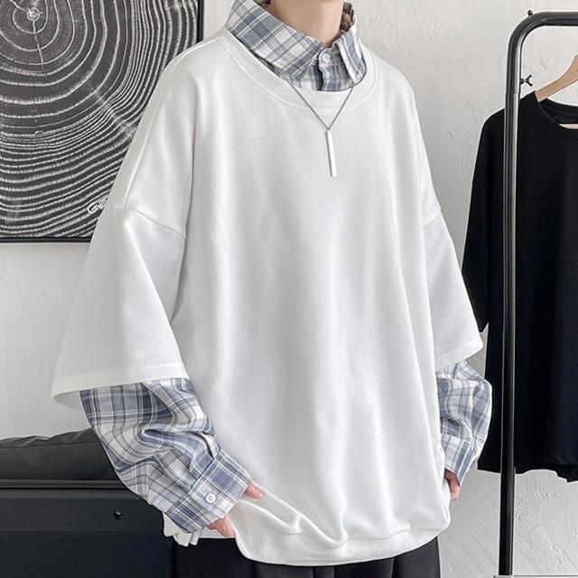チェックシャツレイヤードTシャツ