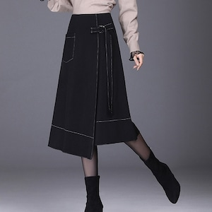 ステッチとシルエットがかわいい♡ハイウエストアシンメトリースカート