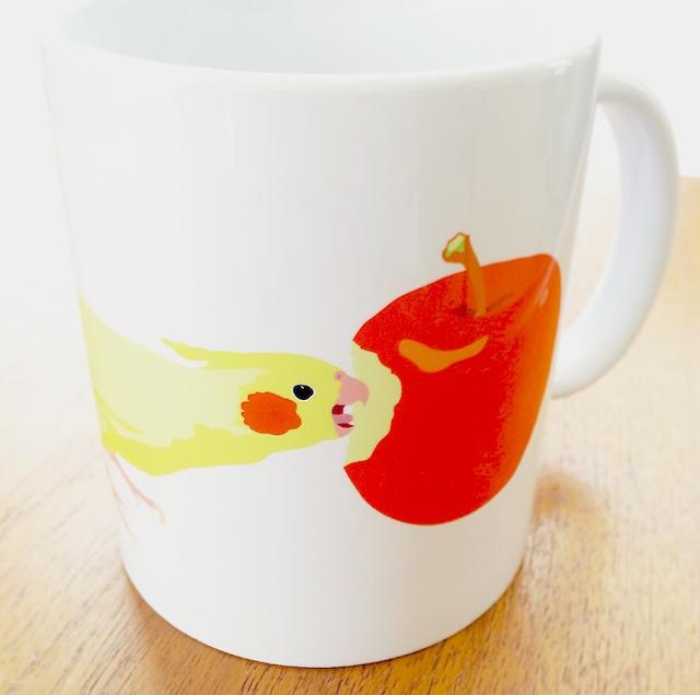 りんごとオカメインコ マグカップ