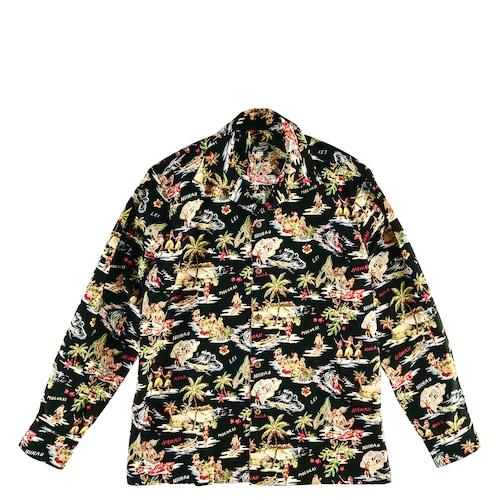 Mountain 長袖オープンアロハシャツ /  ALOHA DAYS  /  Black