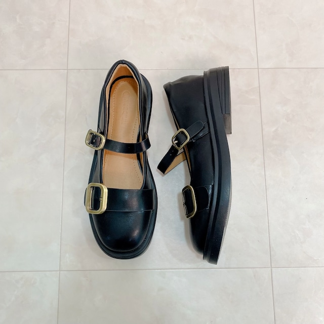 【ラスト1点送料無料】【即納】round shoes(Black×Black)