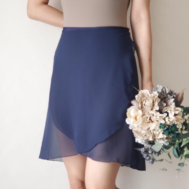 LONG wrap skirt【オールネイビー】