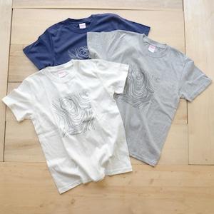 ホトリ山Tシャツ(コットン)/等高線柄 シルクスクリーン【mt.souvenir】