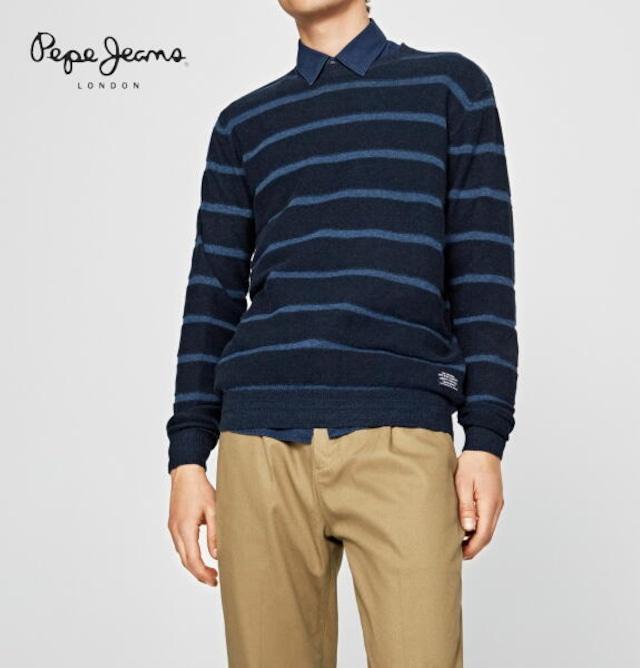 ペペジーンズ ニット セーター クルーネック ボーダー メンズ トップス PEPE JEANS LONDON DAREN STRIPED JUMPER BLUE PRINT【正規取扱店】