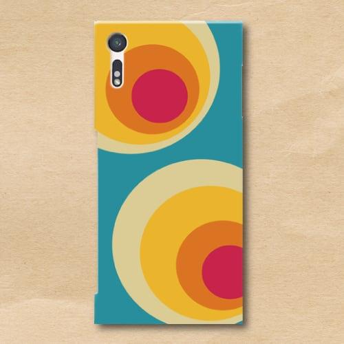 レトロポップ/青系色/黄/橙/水玉/Androidスマホケース(ハードケース)