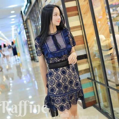 t0028009 パーティードレス ブルー 青 結婚式 スカラップ リボン 半袖 ミニ丈 青ワンピース ドレス
