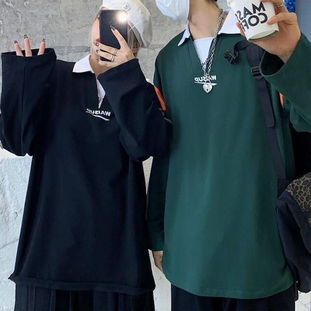 ユニセックス バイカラー ポロシャツ 長袖 オーバーサイズ 韓国ファッション メンズ レディース トップス ルーズ カジュアル ストリートファッション TBN-653571995078