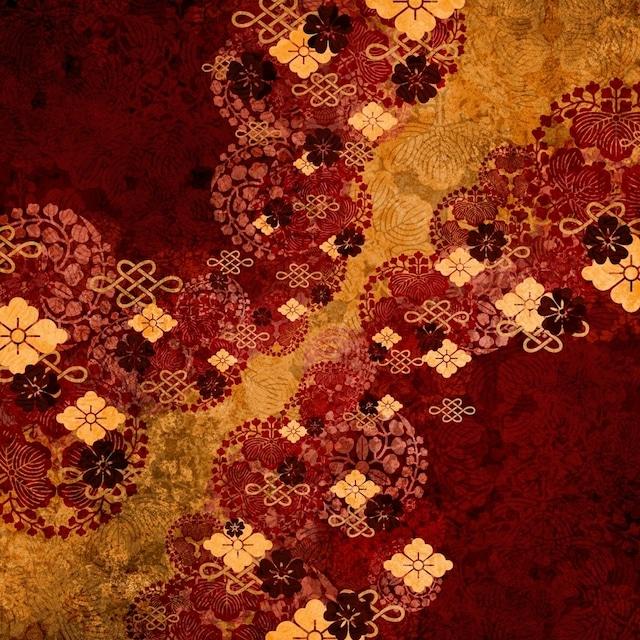 家紋装飾 紅黄 パデッドパーカー レディースサイズ