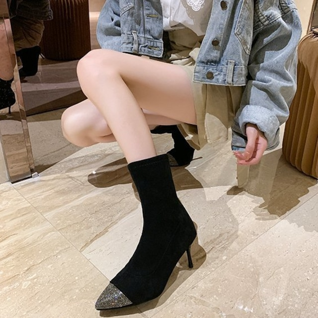 レディースブーツ ブラック ブーツ ショートブーツ レディース シューズ 靴 ヒール ポインテッドトゥ ピンヒール