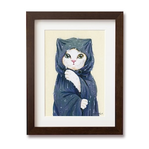 レインコートの白猫 複製画 / The White Cat in a Raincoat Print