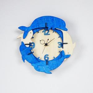 「イルカ」木製掛け時計
