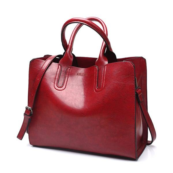 レディース PUレザーショルダーバッグ 毎日のショッピングに最適 トートバッグ ハンドバッグ burgundy