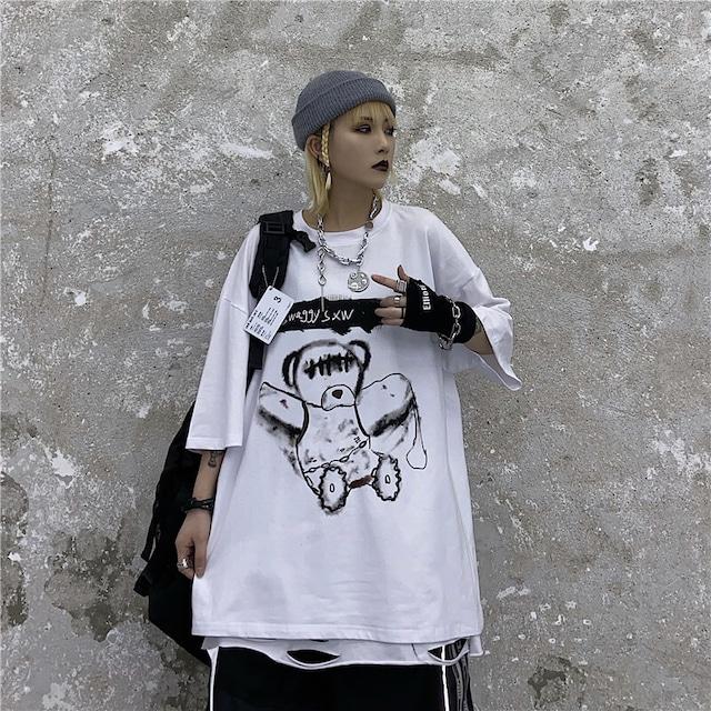 【トップス】ストリート系ラウンドネックファッションプルオーバー半袖Tシャツ42911757