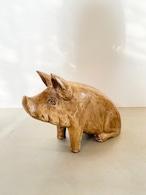 木製 ブタ オブジェ ( L size )