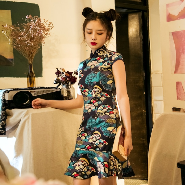 改良型チャイナドレス ワンピース ショート丈 着痩せ マーメイドライン S M L 可愛い 青春シリーズ