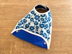布製お食事スタイ ガーゼの花柄ブルー・リバーシブル