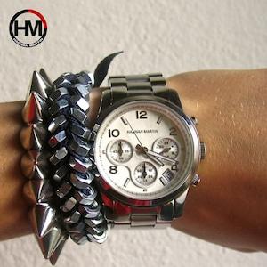 女性トップブランド高級レイドドレス時計クォーツカレンダーステンレススチールバンド腕時計防水フルシルバー腕時計1038 Silver