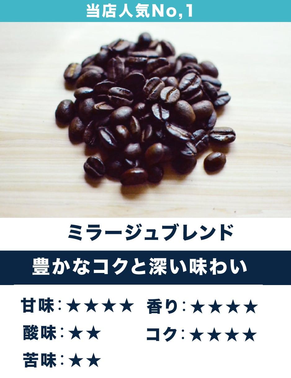 ミラージュブレンド  ☆コク・甘み系☆ 人気No,1当店オリジナルブレンド 豊かなコクと深い味わい