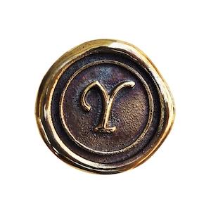 シーリングイニシャル S 〈Y〉 ブラス / コンチョボタン