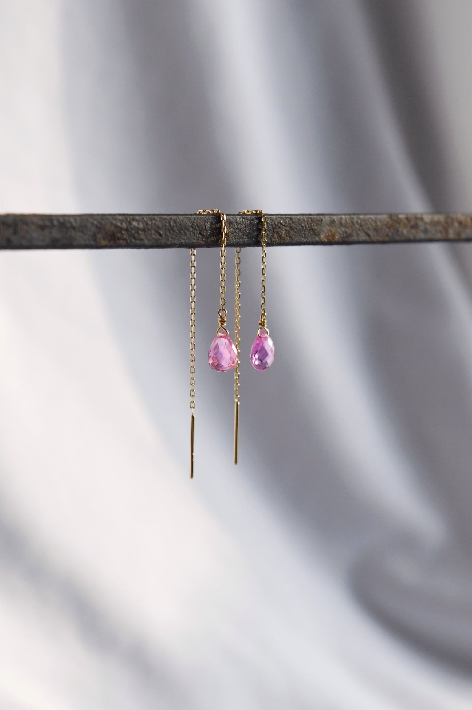 K18 Pink Sapphire Long chain Earrings 18金ピンクサファイアロングチェーンピアス/イヤリング