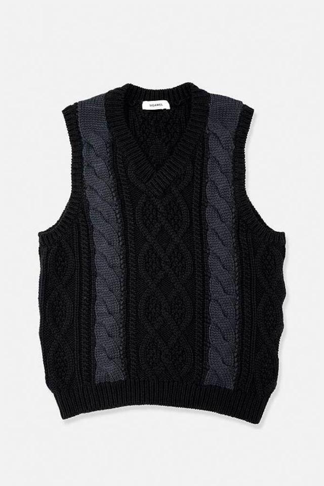 DIGAWEL / Cable Stitch Vest(BLACK)