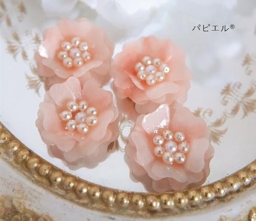 大理石風ピンクの大ぶりペーパーフラワーイヤリング・ピアス【セール品】