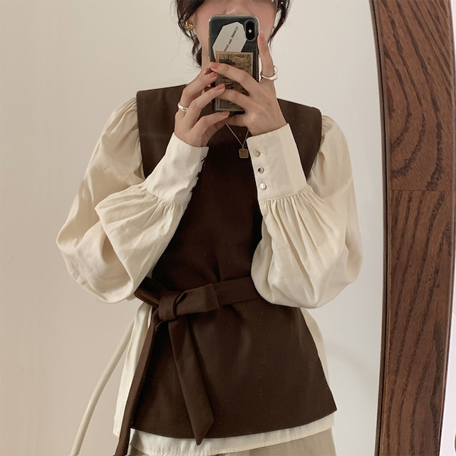 10/17 Instaライブ【ゆきち着用】レイヤードウエストリボンシャツ