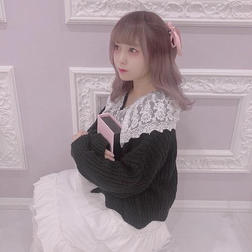 big lace-collar knit cardigan